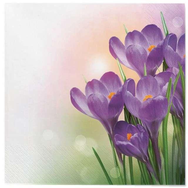 """Serwetki """"Wielkanoc - fioletowe krokusy"""", Maki, 33 cm, 20 szt"""