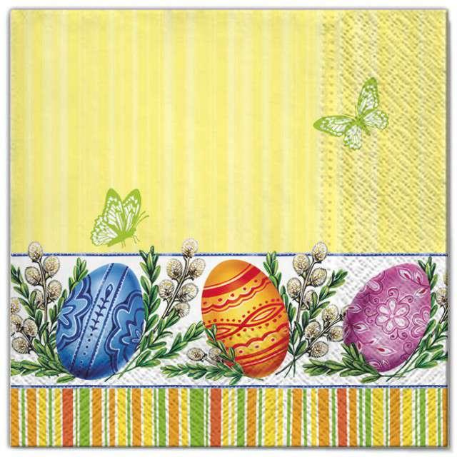"""Serwetki """"Wielkanoc - pisanki i bazie """", Maki, 33 cm, 20 szt"""