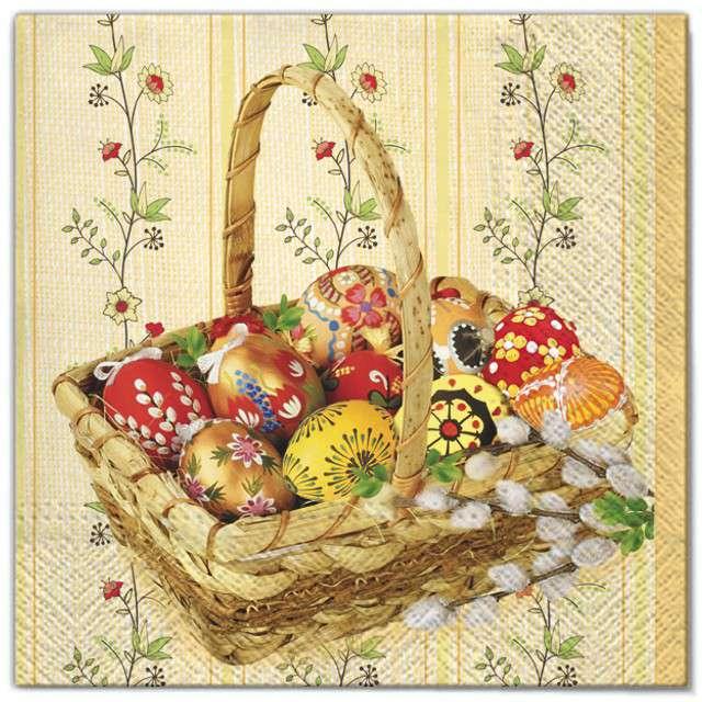 """Serwetki """"Wielkanoc - pisanki w koszyku"""", Maki, 33 cm, 20 szt"""