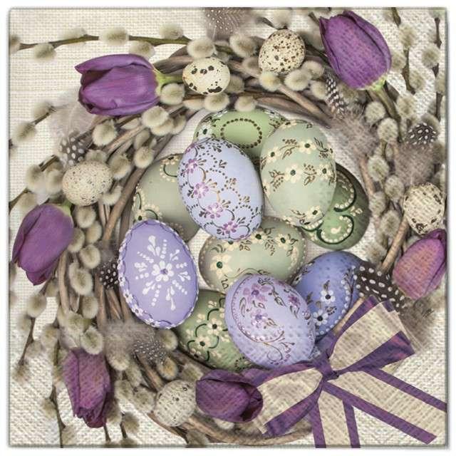 """Serwetki """"Wielkanoc - jajka w tulipanach"""", Maki, 33 cm, 20 szt"""