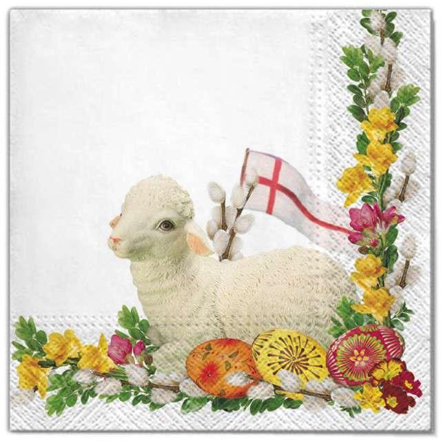 """Serwetki """"Wielkanoc - baranek biały """", Maki, 33 cm, 20 szt"""