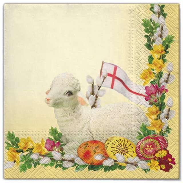 """Serwetki """"Wielkanoc - baranek żółty"""", Maki, 33 cm, 20 szt"""