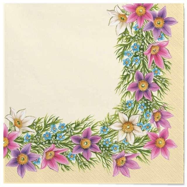 """Serwetki """"Wielkanoc - fioletowe kwiaty"""", Maki, 33 cm, 20 szt"""