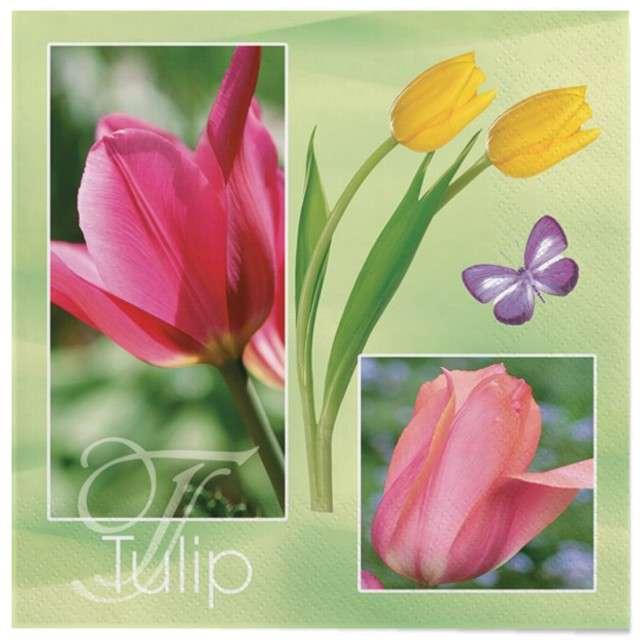 """Serwetki """"Wielkanoc - tuipany żółte i różowe"""", Maki, 33 cm, 20 szt"""