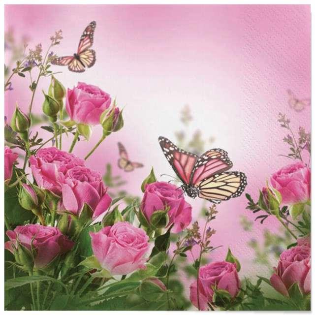 """Serwetki """"Wielkanoc - róże i motyle"""", Maki, 33 cm, 20 szt"""