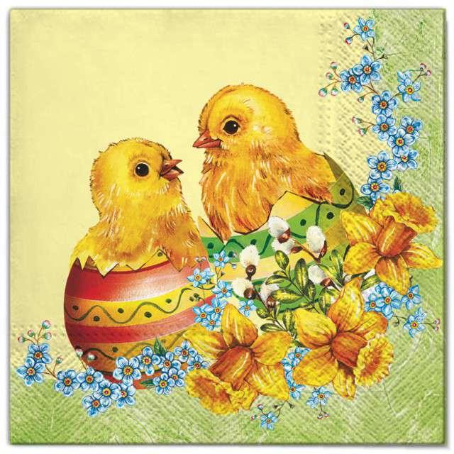"""Serwetki """"Wielkanoc - 2 kurczaki"""", Maki, 33 cm, 20 szt"""