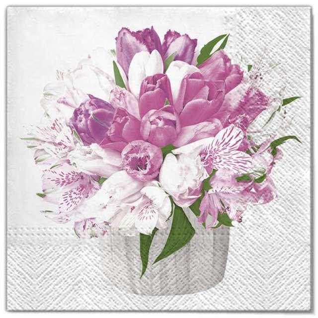 """Serwetki """"Wielkanoc - kwiaty biało-różowe"""", Maki, 33 cm, 20 szt"""