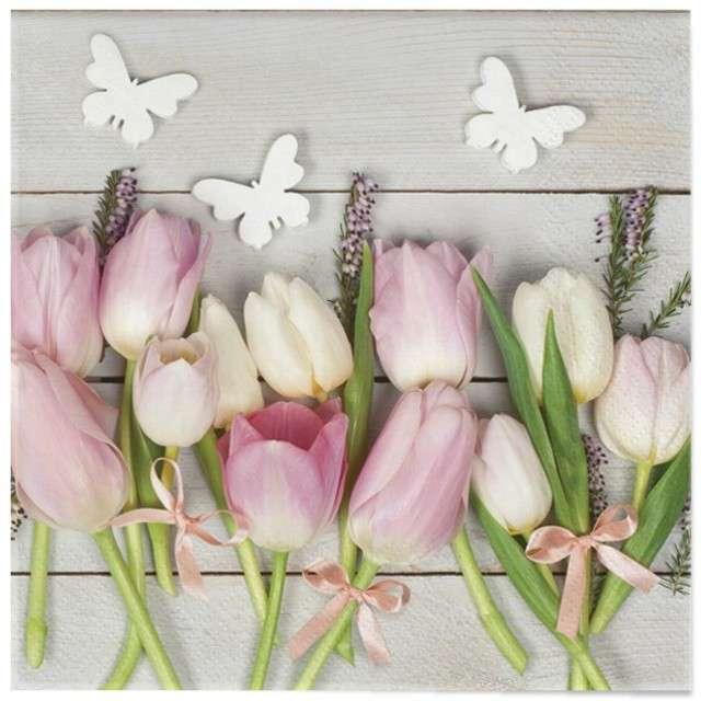 """Serwetki """"Wielkanoc - tulipany na drewnie"""", Maki, 33 cm, 20 szt"""