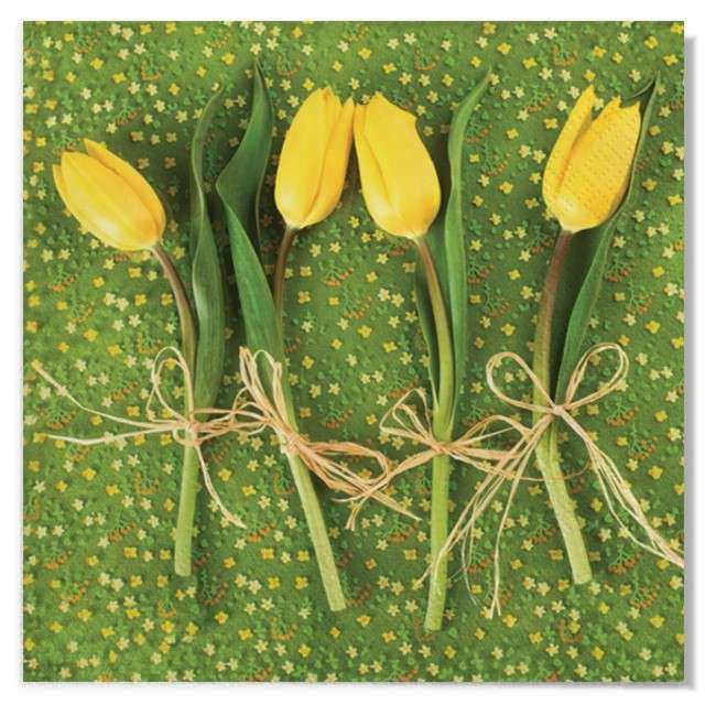 """Serwetki """"Wielkanoc - tulipany żółte"""", Maki, 33 cm, 20 szt"""