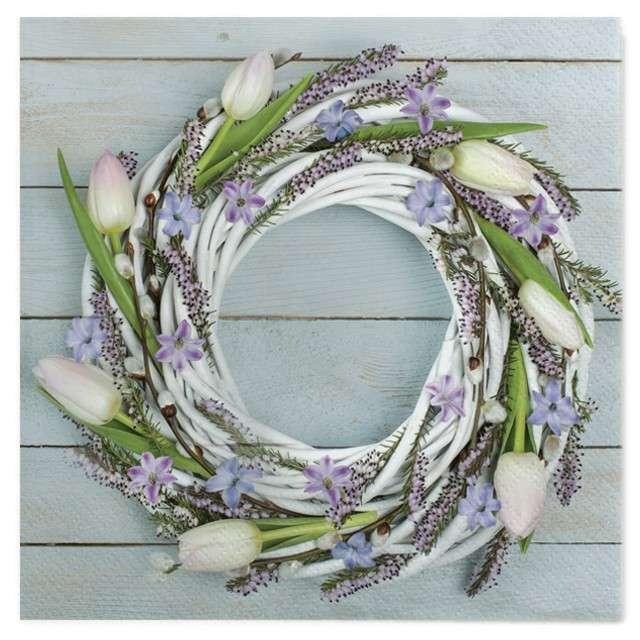"""Serwetki """"Wielkanoc - wieniec z tulipanów"""", Maki, 33 cm, 20 szt"""