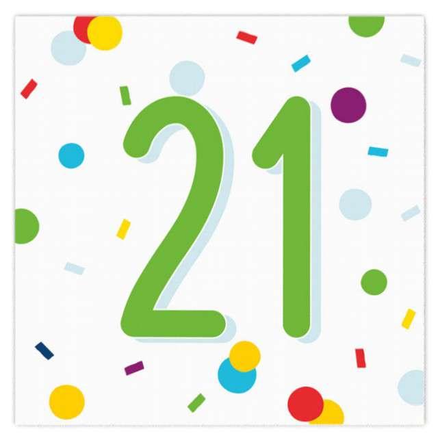 """Serwetki """"Urodziny konfetti 21"""", Amscan, 33 cm, 20 szt."""