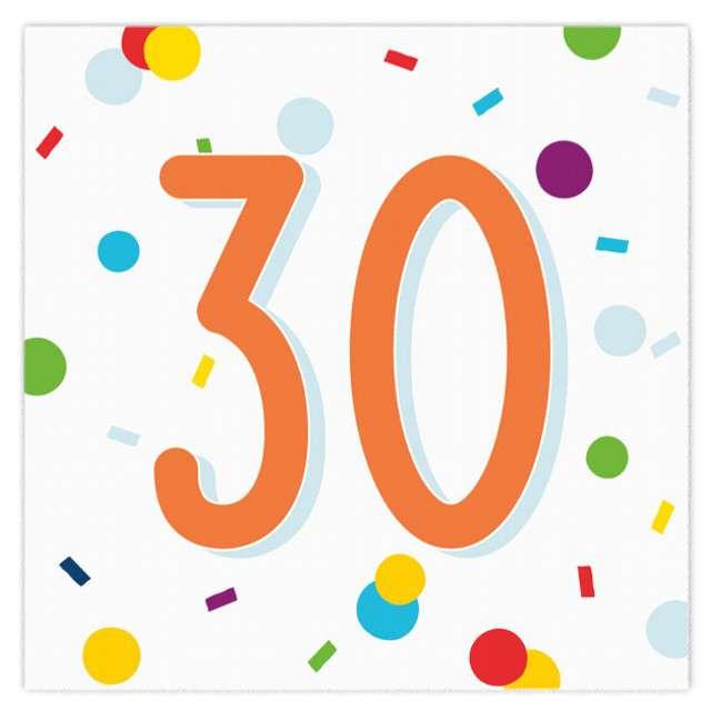 """Serwetki """"Urodziny konfetti 30"""", Amscan, 33 cm, 20 szt."""