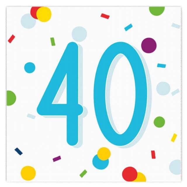 """Serwetki """"Urodziny konfetti 40"""", Amscan, 33 cm, 20 szt."""