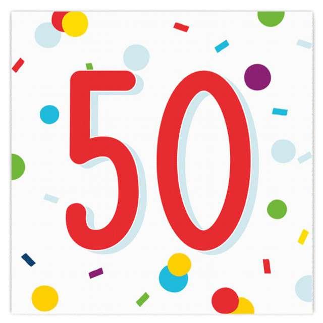 """Serwetki """"Urodziny konfetti 50"""", Amscan, 33 cm, 20 szt."""