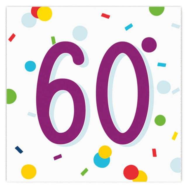 """Serwetki """"Urodziny konfetti 60"""", Amscan, 33 cm, 20 szt."""