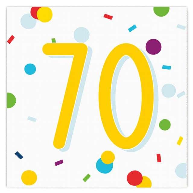 """Serwetki """"Urodziny konfetti 70"""", Amscan, 33 cm, 20 szt."""