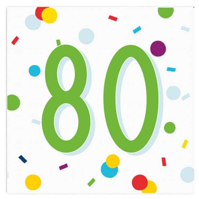"""Serwetki """"Urodziny konfetti 80"""", Amscan, 33 cm, 20 szt."""
