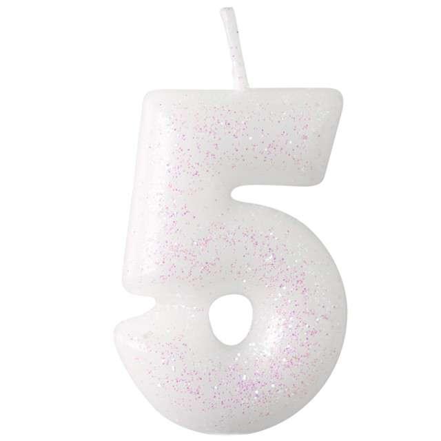 """Świeczka na tort """"Cyferka 5 - różowy brokat"""", biała, Amscan, 6,5 cm"""
