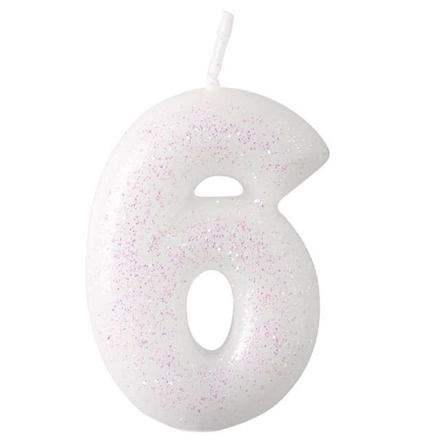 """Świeczka na tort """"Cyferka 6 - różowy brokat"""", biała, Amscan, 6,5 cm"""