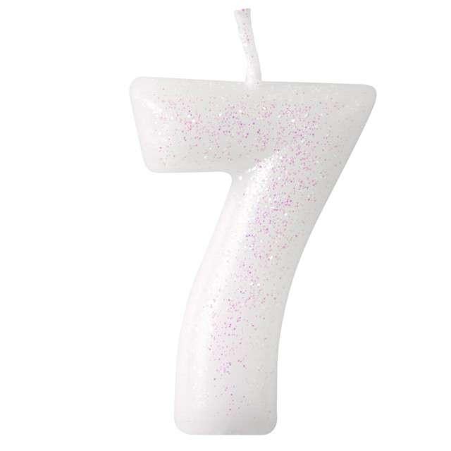 """Świeczka na tort """"Cyferka 7 - różowy brokat"""", biała, Amscan, 6,5 cm"""