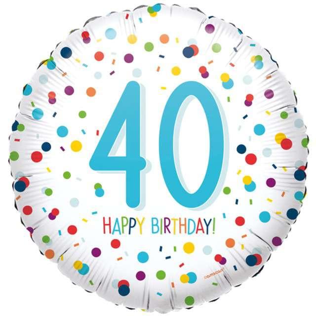 """Balon foliowy """"Konfetti - 40 lat"""", błękit Amscan, 40 cm"""