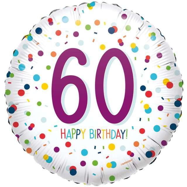 """Balon foliowy """"Konfetti - 60 lat"""", fioletowy. Amscan, 40 cm"""