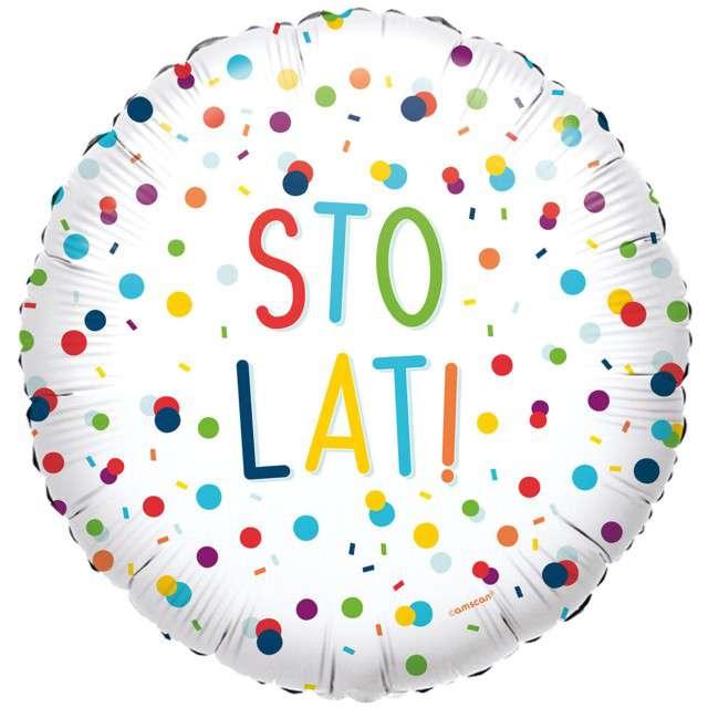 """Balon foliowy """"Konfetti - Sto Lat!"""", Amscan, 40 cm"""