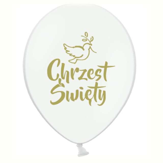 """Balon """"Chrzest Święty - Złoty"""", biały, Grabo, 12"""", 25 szt"""