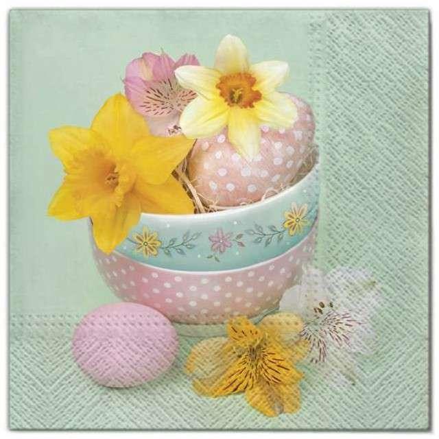 """Serwetki """"Wielkanoc - kwiaty w misce"""", Maki, 33 cm, 20 szt"""