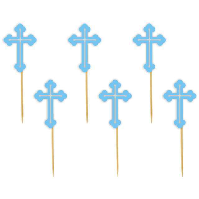 """Pikery """"Krzyż"""", błękitny, 6 szt"""