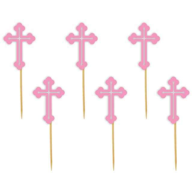 """Pikery """"Krzyż"""", różowe, 6 szt"""