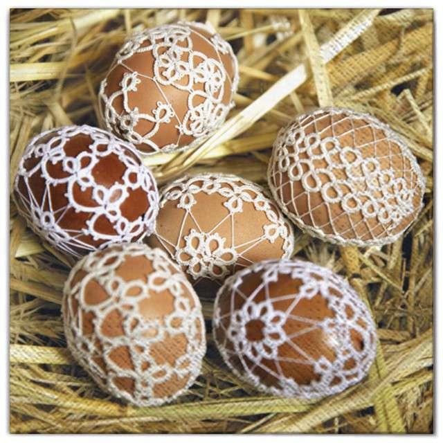 """Serwetki """"Wielkanoc - pisanki w sianiea"""", Maki, 33 cm, 20 szt"""