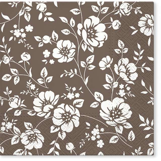 """Serwetki """"Ornament z białych kwiatów"""", PAW, 33 cm, 20 szt"""