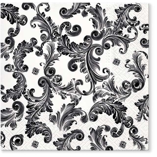 """Serwetki """"Ornament czarny"""", PAW, 33 cm, 20 szt"""