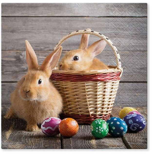 """Serwetki """"Wielkanoc - króliki w koszyku"""", PAW, 33 cm, 20 szt"""