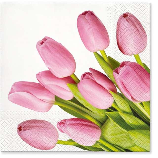 """Serwetki """"Wielkanoc - różowe tulipany"""", PAW, 33 cm, 20 szt"""
