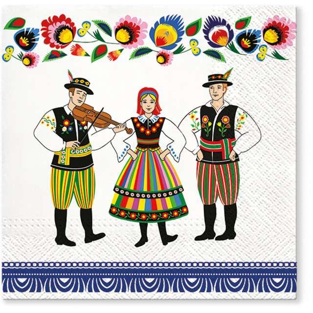 """Serwetki """"Ludowe - muzykanci"""", PAW, 33 cm, 20 szt"""
