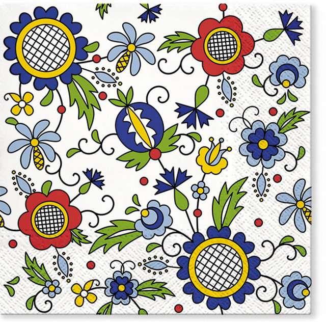"""Serwetki """"Ludowe - kwiaty"""", PAW, 33 cm, 20 szt"""
