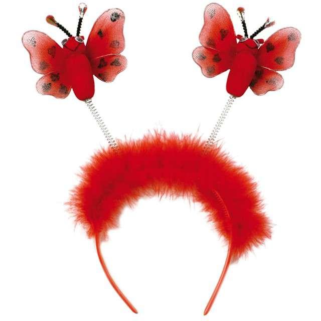 """Opaska party """"Motyle z puszkiem"""", czerwona, Fries"""