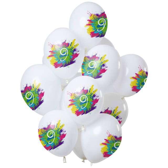 "Balony ""9 Urodziny - color splash"", biały, Folat, 12"", 12 szt"