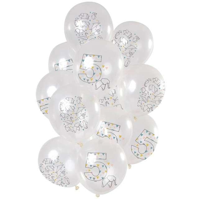 """Balony """"Origami 5 urodziny"""", transparentne, Folat, 12"""", 12 szt"""