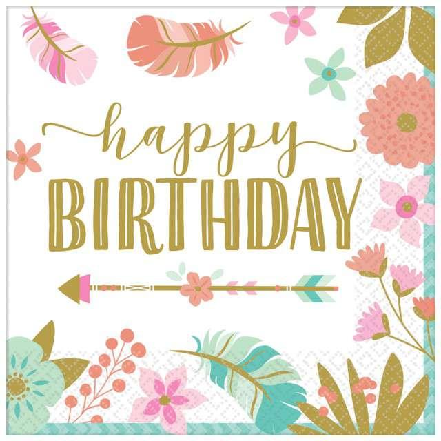 """Serwetki """"Indiańskie Urodziny - Happy Birthday"""", Amscan, 25x25 cm, 16 cm"""