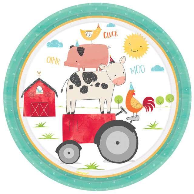 """Talerzyki papierowe """"Farma - Zwierzęta na traktorze"""", Amscan"""