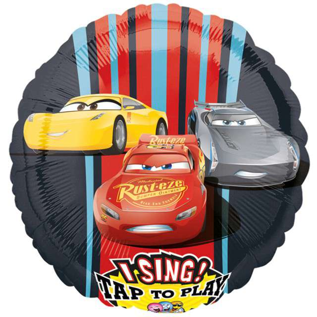 "Balon foliowy ""Auta Cars 3"", grający, Amscan, 71 cm"