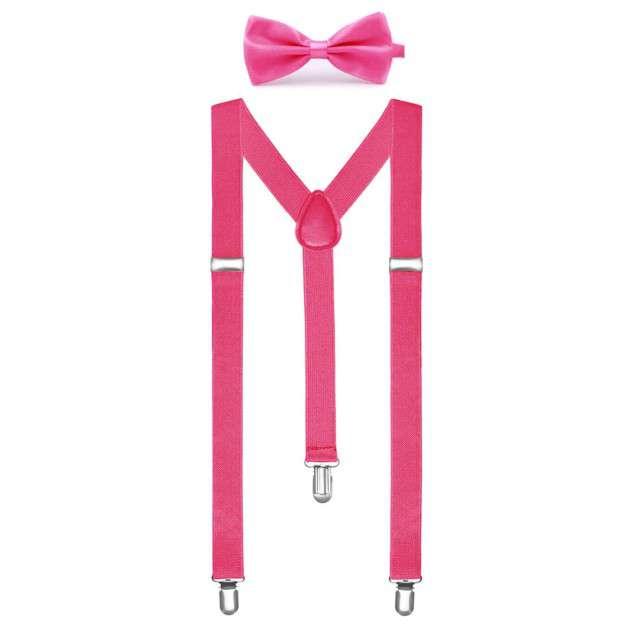 """Szelki """"Classic z muchą"""", różowe, Funny Fashion"""