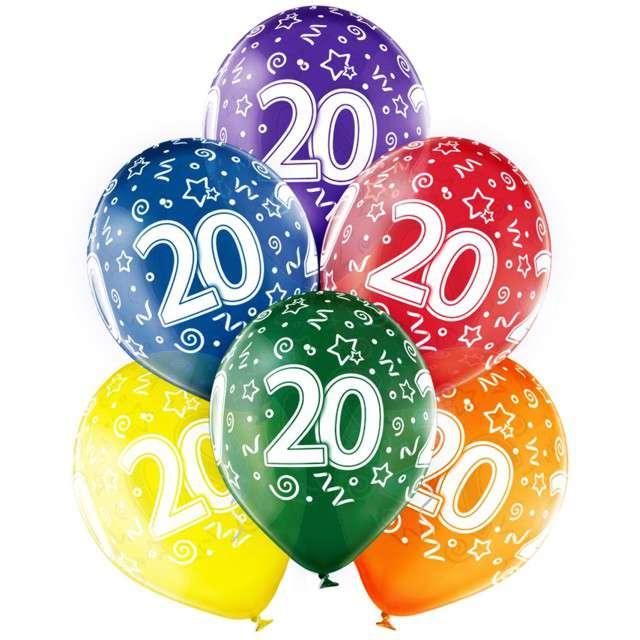 "Balony ""20 Urodziny"", transparentny mix, Belbal, 12"", 6 szt"