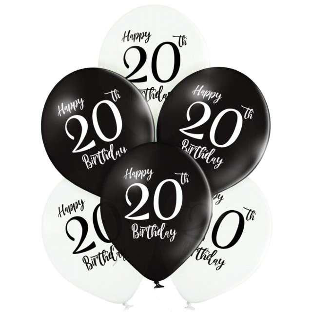 "Balony ""20 Urodziny"", mix, Belbal, 12"", 6 szt"
