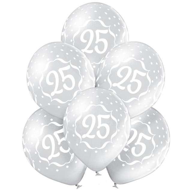 """Balony """"Liczba 25"""", srebrny metalik, Belbal, 12"""", 6 szt"""