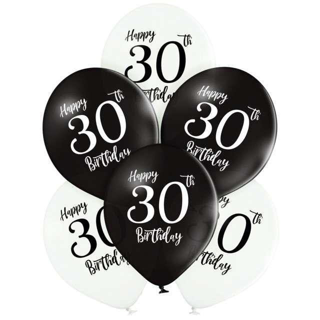 "Balony ""30 Urodziny"", mix, Belbal, 12"", 6 szt"