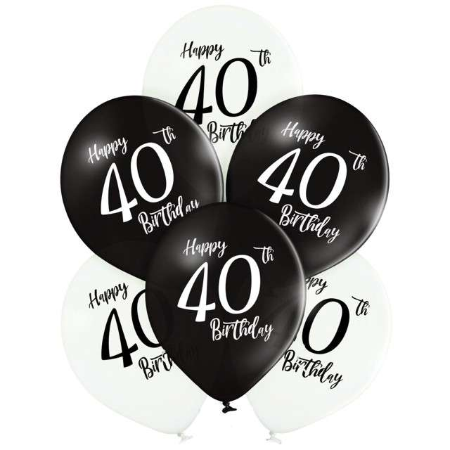 "Balony ""40 Urodziny"", mix, Belbal, 12"", 6 szt"